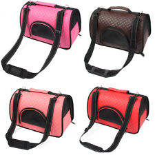 Travel Portable Soft Faux Leather Meshy Zipper Pocket Pet Puppy Carrier Tote Bag