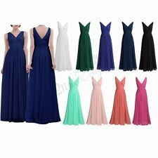 Womens V Neck Long Chiffon Evening Formal Party Wedding Bridesmaid Dress Prom