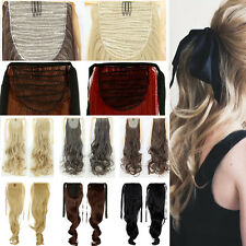 Lady Women Ponytail Tie up Clip In Hair Extension Drawstring Ribbon Binding H23
