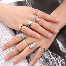 10Pcs Women Boho Vintage Silver/Gold Turquoise Finger Knuckle Rings Set Jewelry