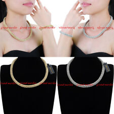 Fashion Metal Chain White Crystal Collar Statement Pendant Bib Necklace Bracelet