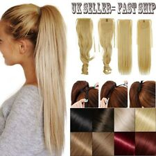 UK Real Thick ponytail clip in long pony tail hair extensions tie up wrap around