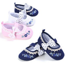 Toddler Princess Bowknot Summer Sandals Strappy Canvas Baby Girl Shoes 0-18M