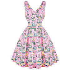 Hell Bunny Maxine Pink Flamingo Las Vegas Retro Vintage 1950s Kitsch Swing Dress