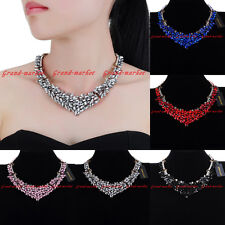 Fashion Jewelry Chain Crystal Collar Charm Choker Statement Pendant Bib Necklace