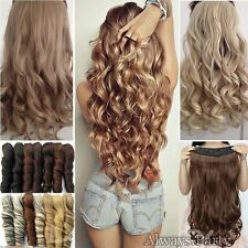 One Piece Natural Full Head Clip in Thick Hair Extensions Brown Blonde Thick UK