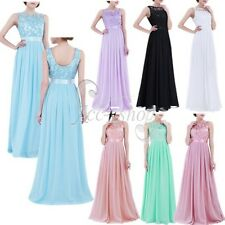 Women Chiffon Long Dress Prom Bridesmaid Evening Party Cocktail Maxi Dress 4-16