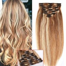 12/613 Clip in Remy Human Hair Extensions Full Head 8pieces Straight Hairpiece