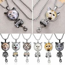 Women Vintage Fashion Crystal Rhinestone Cat Pendant Necklace Lovely Jewellery
