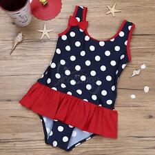 Baby Girls Kids One Piece Swimming Costume Ruffle Polka Dot Swimsuit Swimwear