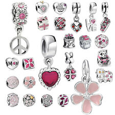 Love Heart pendant 925 silver charms bead For sterling bracelet necklace Chain