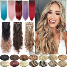 Real Thick Full Head Set Clip In Hair Extensions 8Pcs 18Clips Hair Extension UK