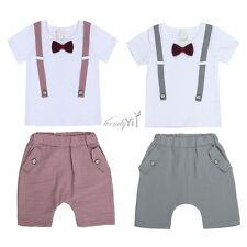 2PCS Baby Boys Bow Short Sleeve Stripe Suits Outfit T-shirt+Short Pants Outfits