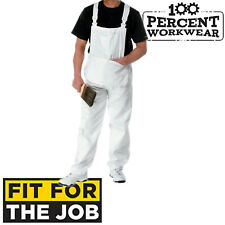 FFTJ PC186 White Painters Decorators Bib + Brace Overalls Dungarees Coveralls