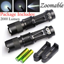 2X CREE T6 LED Tactical Flashlight Torch 2000 Lumen+2x18650 Rechargeable Battery