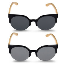 Wooden glasses with bamboo temples Clubmaster sunglasses UV4000 women men black
