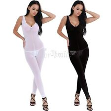 Womens V Neck Leotard Ladies Bodysuit Sleeveless Lingerie Backless Jumpsuit Sexy