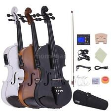 Hot 4/4 Full Size Electric Violin Bow Case Tuner Rosin Extra Bridge Strings T5H9