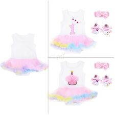 3PCS Infant Baby Girls First Birthday Crown Cake Outfits Romper Headband Shoes