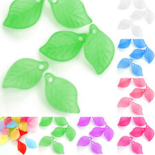 69pcs Acrylic Leaf Beads Jelly-like DIY Jewelry Making Crafts 18x11mm Wholesale