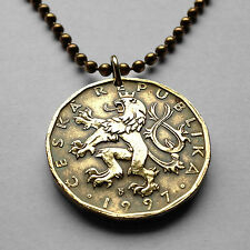 Czech Republic 20 Korun coin pendant Bohemian lion horseman Prague Czech n001692
