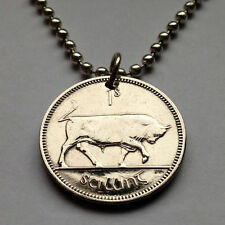 Ireland 1 Shilling coin pendant necklace Irish Bull Éire Gaelic harp n000255