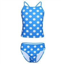 2PCS Girls Spaghetti Straps Polka Dots Tankini Swimsuit Swimwear Tops Bottoms