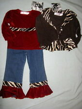 NWT $103 Boutique Greggy Girl CHOCOLATE CHERRY 4 4T Set Jean Outfit Tiger Jacket
