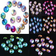 15PCS Gorgeous Colorful AB Crystal Glass Fashion Loose Beads DIY Charm 14mm