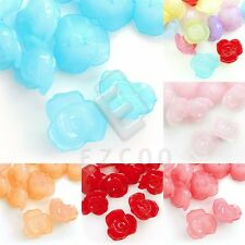 30pcs Acrylic Jelly-like Flower Beads DIY Jewelry Making 16x16mm 6 Colors