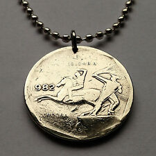 Colombia 10 pesos coin pendant Colombian necklace Horse Back Rider war n000700b