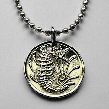 Singapore 10 cents coin pendant necklace cute crowned SEAHORSE sea beach n000074