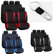 10 part Car Seat Covers For Auto w/Steering Wheel/Belt Pad/Head Rests