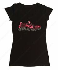 "Women's Rhinestone T-Shirt "" Think Pink Shoe with Cancer Ribbons "" in All Sizes"