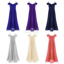 Kids Girls Off-shoulder Pleated Chiffon Dress Princess Pageant Wedding Party