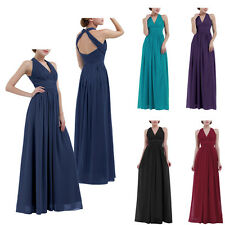 Women Chiffon Halter V Neck Bridesmaid Dress Long Maxi Evening Party Prom Gown