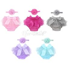 Newborn Baby Girls Bloomer Diaper+Flower Headband Infant Photography Photo Prop
