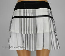 NEW LULULEMON Pace Setter Skirt TALL 4 Groovy Stripe Nimbus Grey White Black