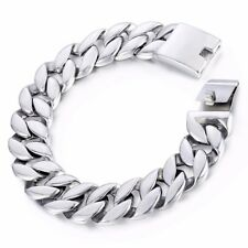 18mm Boys Mens Chain Bracelet Silver Tone 316L Stainless Steel Curb Cuban Link