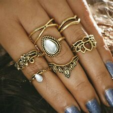 7Pcs Women Vintage Silver/Gold Gem Midi Above Knuckle Band Rings Jewelry Set New