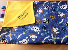 XL PERSONALISED PIRATE COT/PRAM TAGGY BLANKET/GIFT/BOY
