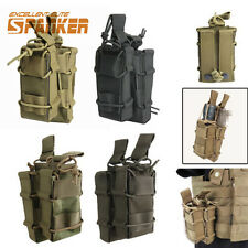 Airsoft Tactical Molle Belt Pistol 5.56 .223 Double Magazine Mag Pouch Holster