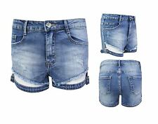 Womens Ladies Distressed Ripped Shorts Denim Buckle Pants Hotpants Jeans