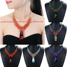 Fashion Jewelry Chain Glass Crystal Charm Collar Statement Pendant Bib Necklace