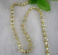 10yards Clear AAA crystal rhinestone close chain trims gold cup ss6/12/16/18/20
