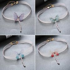 Fashion 3D Butterfly Beaded Pendant Necklace Choker Chunky Chain Women Jewelry