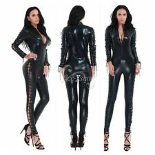 Sexy Women's Wetlook Patent Leather Bodycon CATSUIT CLUBWEAR Bodysuit Jumpsuit