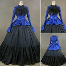 Vintage Victorian Ball Gown With Jabot Gothic Blue Reenactment Cosutme Dress