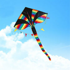 Colorful Huge Triangle Kite With Tail Outdoor Fun Sport Children Kids Toy Gift