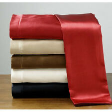 Silk Feel Satin Pillowcase+Fitted+Flat Bed Sheet+Pillowcases Set Polyester New